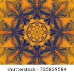 seamless orange kaleidoscope...   Shutterstock . vector #735839584
