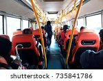 commuter traveling by bus | Shutterstock . vector #735841786