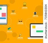 mobile marketing style flat... | Shutterstock .eps vector #735843304
