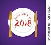 creative happy new year 2018... | Shutterstock .eps vector #735846334