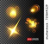 light effect and golden glitter ... | Shutterstock .eps vector #735849229