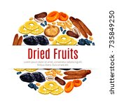dried fruit round label of... | Shutterstock .eps vector #735849250