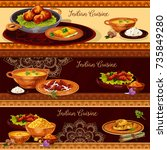 indian cuisine restaurant... | Shutterstock .eps vector #735849280