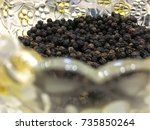 blurry picture of indian spice... | Shutterstock . vector #735850264