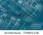 mechanical engineering drawing. ...   Shutterstock .eps vector #735851128