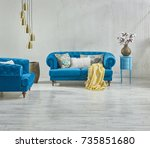 raw wall sofa decoration with... | Shutterstock . vector #735851680