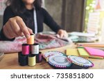 young woman dressmaker or... | Shutterstock . vector #735851800