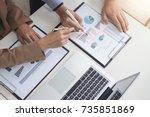 confident business leader ... | Shutterstock . vector #735851869
