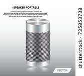 speaker portable and stereo... | Shutterstock .eps vector #735853738