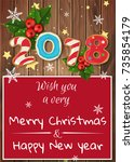 christmas card with ginger... | Shutterstock .eps vector #735854179