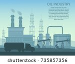 vector oil rig industry of... | Shutterstock .eps vector #735857356