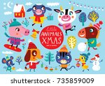 christmas set with cute animals ... | Shutterstock .eps vector #735859009