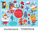 christmas set with cute animals ... | Shutterstock .eps vector #735859018