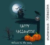 vector illustration. festive... | Shutterstock .eps vector #735860344