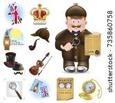 sherlock holmes  detective ... | Shutterstock .eps vector #735860758