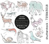 set of animals in hand drawn... | Shutterstock .eps vector #735865018