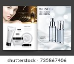 cosmetic magazine design ... | Shutterstock .eps vector #735867406