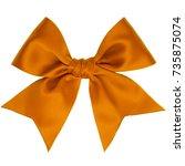 single orange ribbon satin gift ... | Shutterstock . vector #735875074