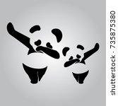bear polar bear dab dance... | Shutterstock .eps vector #735875380