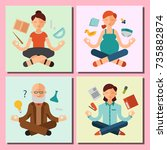 lotus position yoga pose... | Shutterstock .eps vector #735882874