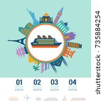 infographics elements. ship... | Shutterstock .eps vector #735884254