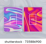 marble texture covers set.... | Shutterstock .eps vector #735886900