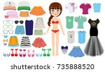 girl with clothes collection | Shutterstock .eps vector #735888520