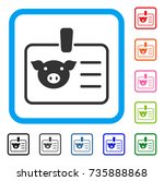 pig badge icon. flat grey...