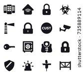 16 vector icon set   server ... | Shutterstock .eps vector #735889114