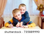 two cute kids  friends in... | Shutterstock . vector #735889990