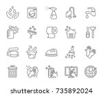 cleaning vector line icons set.  | Shutterstock .eps vector #735892024