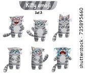 vector set of tabby cat... | Shutterstock .eps vector #735895660