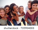 teenage school friends having... | Shutterstock . vector #735904003