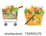 shopping basket and cart with... | Shutterstock .eps vector #735905170