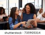 teacher helping teenage... | Shutterstock . vector #735905314
