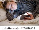 teenage girl victim of bullying ... | Shutterstock . vector #735907654