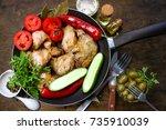 fried chicken wings. grill | Shutterstock . vector #735910039