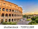 rome italy  sunset city skyline ... | Shutterstock . vector #735911389
