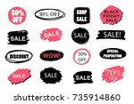 set of sale sticker  background ... | Shutterstock .eps vector #735914860