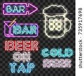 set of glowing bar neon signs... | Shutterstock .eps vector #735917698