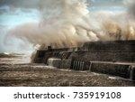 hurricane ophelia hits... | Shutterstock . vector #735919108