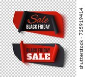 black friday sale  two abstract ... | Shutterstock .eps vector #735919414