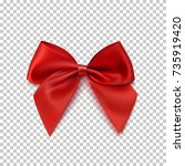 realistic red bow isolated on... | Shutterstock .eps vector #735919420