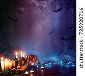halloween pumpkin in a mystic...   Shutterstock . vector #735920716