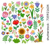 vector set with flowers. floral ... | Shutterstock .eps vector #735921634