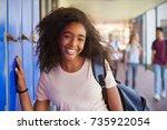 portrait of black teenage girl... | Shutterstock . vector #735922054