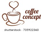 an abstract coffee cup heart... | Shutterstock .eps vector #735922360