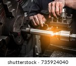 close up hand  heavy industrial ... | Shutterstock . vector #735924040