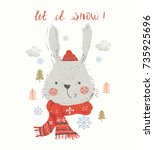 cute  rabbit   hand drawn... | Shutterstock .eps vector #735925696