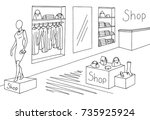 shop interior graphic black and ... | Shutterstock .eps vector #735925924